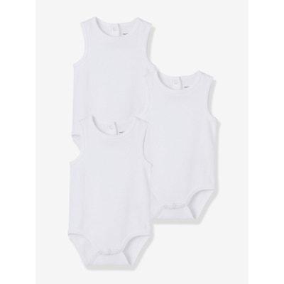 Lot de 3 bodies débardeurs bébé pur coton blanc Lot de 3 bodies débardeurs  bébé pur 8c956ba2591