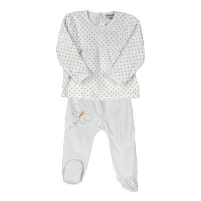 Pyjama bébé fille 2 pièces en velours - Papillon doré LES KINOUSSES d94195815ee