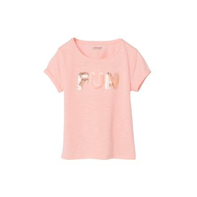 e8ab8ceae71ce T-shirt fille message en sequins VERTBAUDET