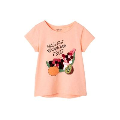 a37a93facee53 T-shirt fille motifs fruits sequins géants et broderies T-shirt fille  motifs fruits