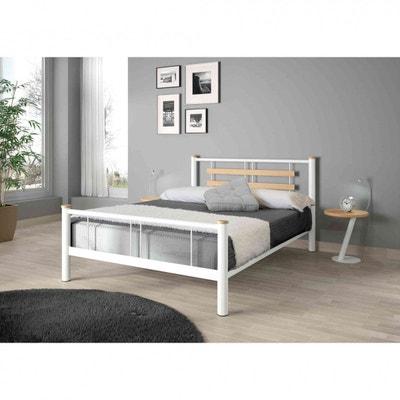 Lit en métal blanc et chêne - LT4005 TERRE DE NUIT d154c1caed1e
