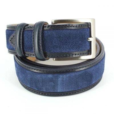 Ceinture cuir, Cuir et Daim bleu, 35mm bords surpiqués ROBERT CHARLES 47ff0414712
