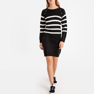 7087d134e5bc00 Gestreepte trui-jurk in tricot