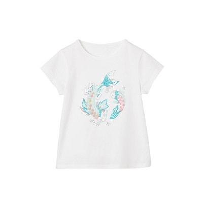 7efe0072b5174 T-shirt fille motif poissons exotiques en sequins et paillettes VERTBAUDET