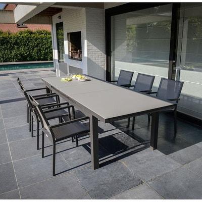 Table de jardin aluminium et verre avec rallonge   La Redoute