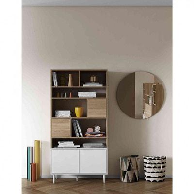 Bibliothèque en bois blanc avec placard et niche de rangement - BI6004  TERRE DE NUIT 1aba32ff2a3b