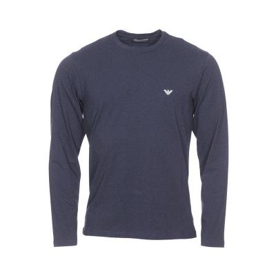 524e9df522c30 Tee-shirt manches longues col rond en coton stretch floqué sur la poitrine  et au
