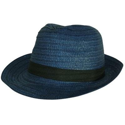 e4d6cab4e1657 Chapeau trilby bleu ruban noir CHAPEAU-TENDANCE
