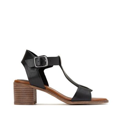 Sandales à talon femme Fórmula Joven noires avec détail en vinyle