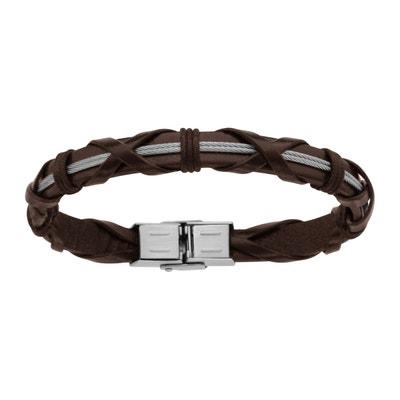a01535a6614 Bracelet 21 cm Cuir Tresse Double Fil Acier SO CHIC BIJOUX