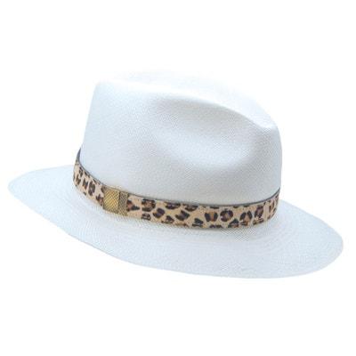 229b530c9c563 Chapeau panama en paille blanc ruban interchangeable en cuir PANAMES AND CO