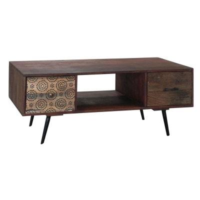 6fe382b415125e Meuble TV   Table basse 2 tiroirs Patchwork et 1 niche en bois exotique  110x55x45cm PATCHOULI
