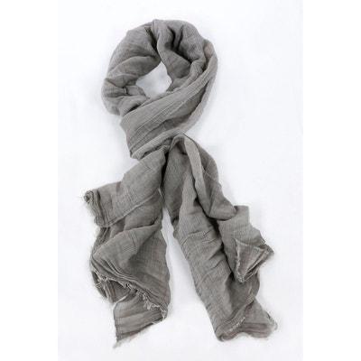 Echarpe ete effet tissage gris clair CARNET DE VOL a8fead3ef40