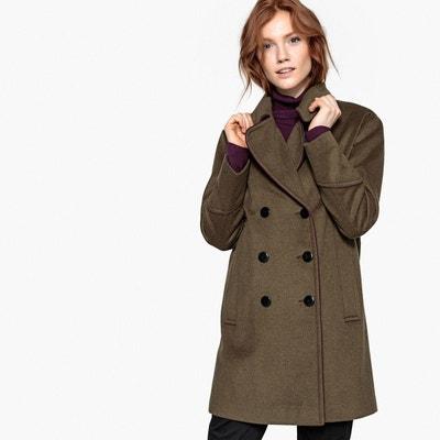 Manteau style militaire drap de laine mélangée La Redoute