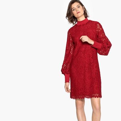 Vestido Rojo Encaje La Redoute