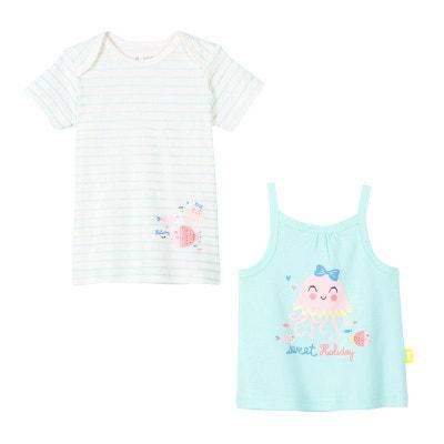 e7bba7a9240d6 Lot de 2 t-shirt + débardeur bébé fille Baby Bulle PETIT BEGUIN