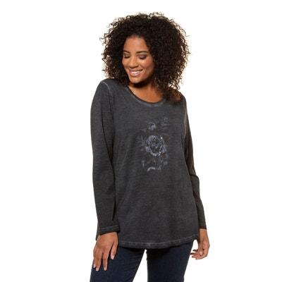 bf24e0715e883 T-shirt col rond imprimé fleuri et sequins T-shirt col rond imprimé fleuri