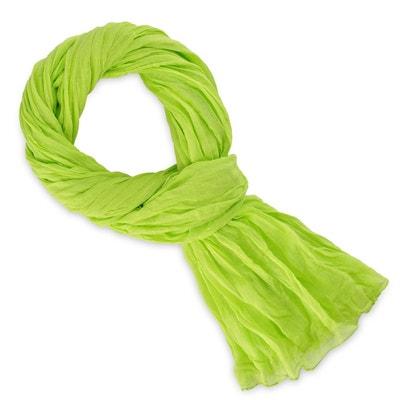 Chèche coton vert anis uni ALLEE DU FOULARD 64c9ec99259