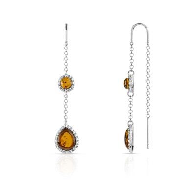 Hearty Ensemble Collier Boucles D Oreilles Argent Et Ambre Fashion Jewelry Bague Gratuite Jewelry & Watches