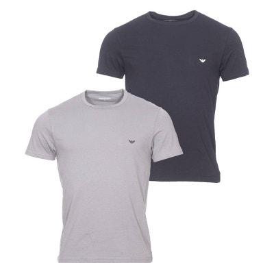 41ff63eb00e Lot de 2 tee-shirts col rond en coton stretch   1 modèle et 1. EMPORIO  ARMANI