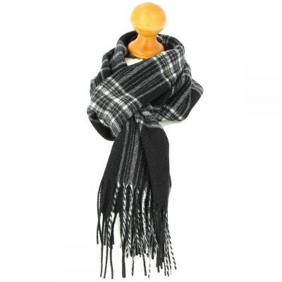 98635f517201 Echarpe carreaux en laine d Australie, Ecosse Noir et Blanc Echarpe  carreaux en laine
