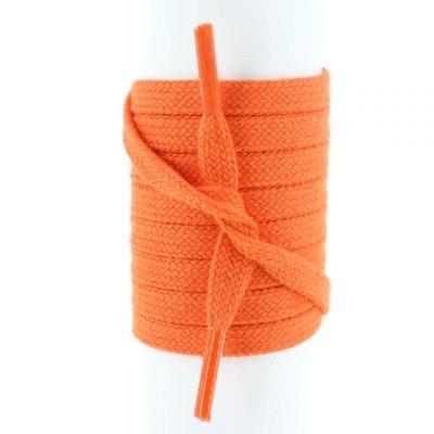 Lacet plat et fin coton 5mm Orange