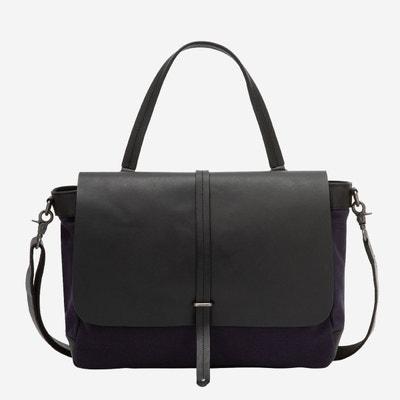 a3d09b711bb Grand sac porté épaule pour femme en cuir et toile bicolore façon postier  avec bandoulière amovible