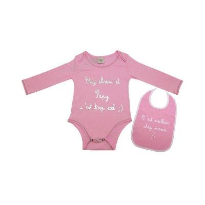 e7bb4291ff05f Body bavoir bébé Mamie-Papy rose 3 mois POUSSIN BLEU