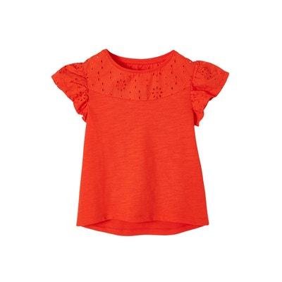 b2949e0a38836 T-shirt fille en broderie anglaise et manches à volants T-shirt fille en