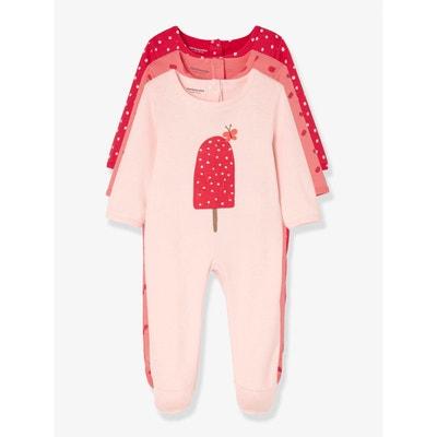 0d8f170a3b581 Lot de 3 pyjamas bébé en coton pressionné dos Lot de 3 pyjamas bébé en coton.  VERTBAUDET