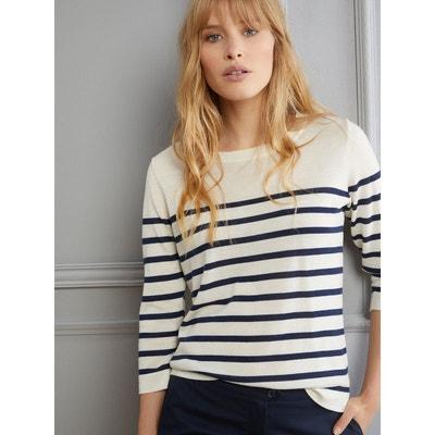 Pull marinière femme en laine Mérinos CYRILLUS e559c97d092