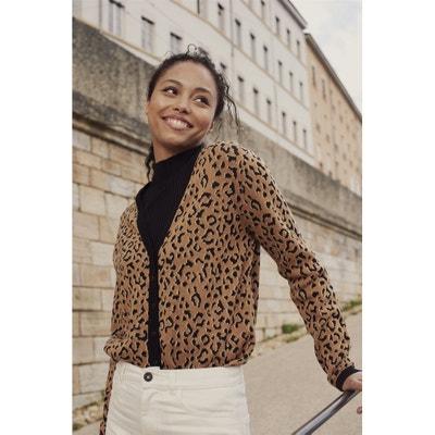 Vest met V-hals in luipaard jacquard, fijn tricot Vest met V-hals in luipaard jacquard, fijn tricot LA REDOUTE COLLECTIONS