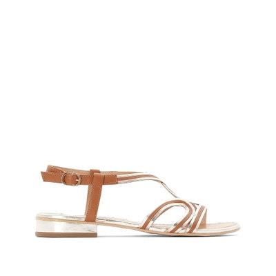 925b7d4a1 Босоножки кожаные на плоском каблуке Босоножки кожаные на плоском каблуке  CASTALUNA