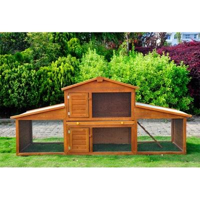 Cage à lapin poulailler clapier en bois rongeur grande taille avec 2 étages  215x63x100cm - HOMCOM 5055bace9acd