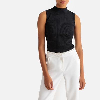 a2143f614 Camiseta sin mangas con cuello alto y punto de canalé Camiseta sin mangas  con cuello alto