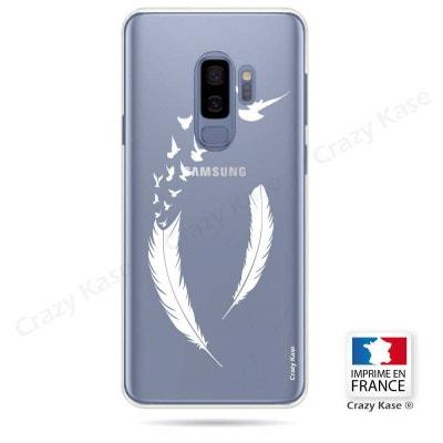afee68eb359 Coque Galaxy S9+ souple motif Plume et envol d oiseaux - Crazy Kase CRAZY  KASE