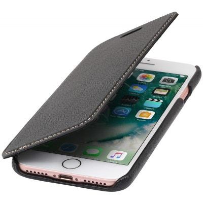 Etui iPhone 8   iPhone 7 book type noir en cuir véritable sans clip de  fermeture 1a907aa84eb
