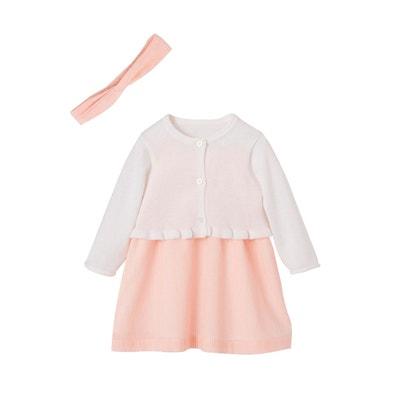 edac05a183d7c Ensemble cérémonie bébé robe + bandeau + gilet Ensemble cérémonie bébé robe  + ...