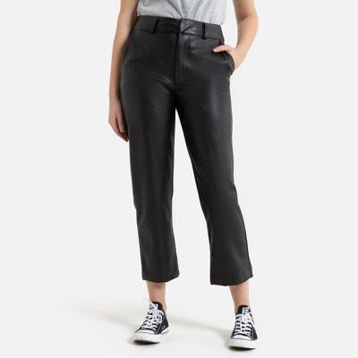 pantalon droit enduit femme taille haute