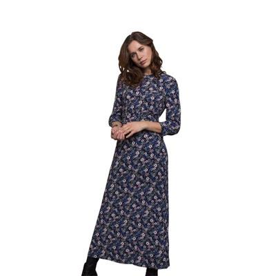 91340f36f37 Longue robe noire imprimé fleuri CHEMINS BLANCS