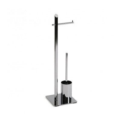 Stylé Chrome Carré Brosse De Toilette Support Et Brosse Caoutchouc Base Stand