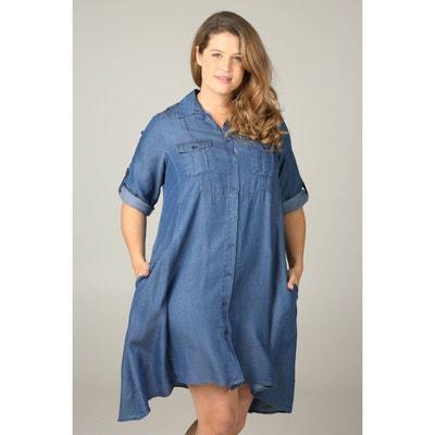 612eae8182139 Robe chemise en Lyocell jeans Robe chemise en Lyocell jeans PAPRIKA