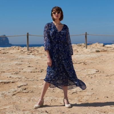 2bbab3538dd Bedrukte maxi jurk met 3/4 mouwen LA REDOUTE COLLECTIONS