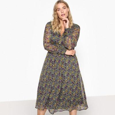 f7b1b447667 Платье длинное расклешенное с цветочным рисунком Платье длинное расклешенное  с цветочным рисунком CASTALUNA