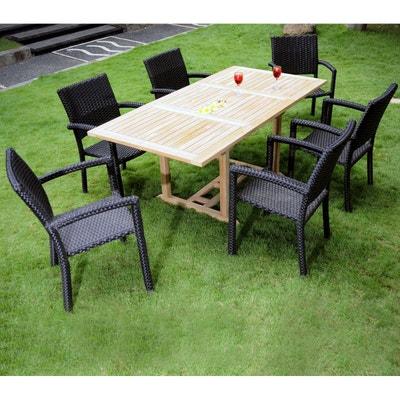 0f177837399edb salon de jardin 6 places en teck et résine tressée - table rectangle 120-180