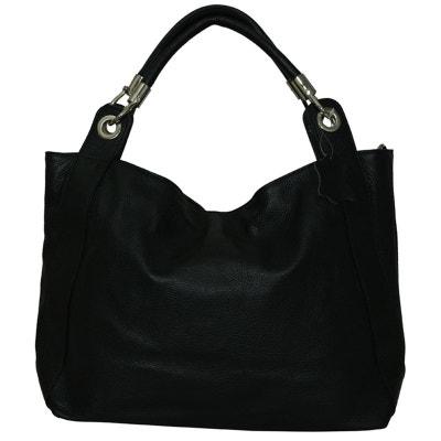 4a10c617a8 Grand sac à main cuir noir Camélia Grand sac à main cuir noir Camélia  CHAPEAU-