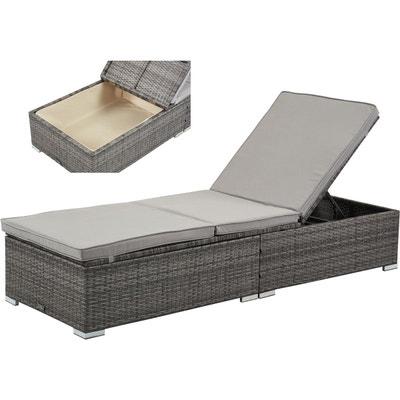 chaise longue osier gris