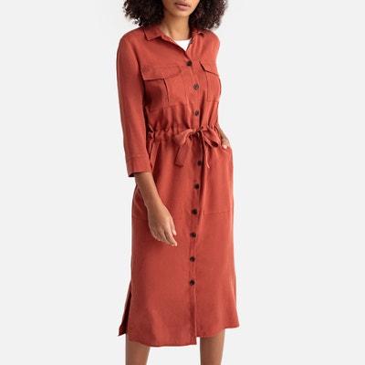 67d48540b69 Tie-Waist Midi Shirt Dress LA REDOUTE COLLECTIONS