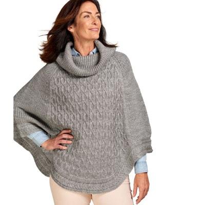 9f9fd52df21 Poncho texturé à col roulé pure laine Poncho texturé à col roulé ...