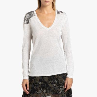 T-shirt met V-hals en lange mouwen T-shirt met V-hals en lange mouwen IKKS